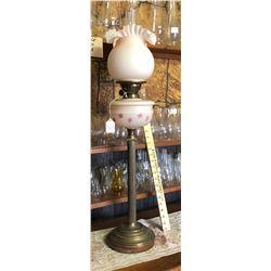ANTIQUE BANQUET LAMP, BRASS & GLASS - BRITISH MADE