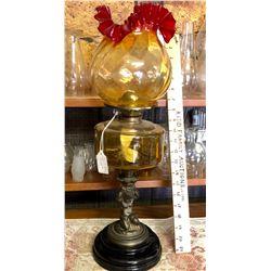 ANTIQUE BANQUET LAMP, BRASS & AMBER GLASS