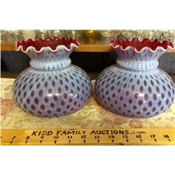 GR OF 2 OPALESCENT CRANBERRY LAMP SHADES