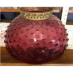 FENTON SHADE IN CRANBERRY HOBNAIL GLASS