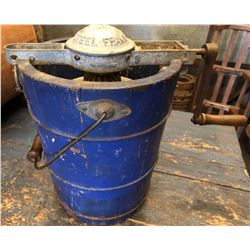 ANTIQUE WOOD ICE CREAM BUCKET WITH FROST CHURN - PAT'D 1911