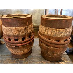 """GR OF 2, ANTIQUE WAGON WHEEL HUBS, WOOD WITH METAL BANDING, APPROX 12"""" TALL."""