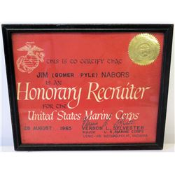 Framed 1965 USMC 'Honorary Recruiter' Designation, Signed, Gold Seal