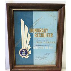 Framed 1972 Jim Nabors U.S. Air Force 'Honorary Recruiter' Designation w/ Signatures