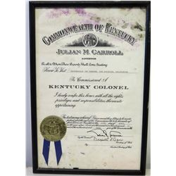 Framed 1977 Jim Nabors 'Kentucky Colonel'  Commission w/ Official Seal & Signatures