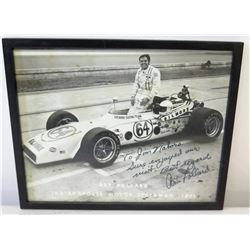 Framed & Autographed Art Pollard 1971 Indianapolis Motor Speedway Photo w/ Inscription to Jim Nabors