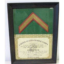 Framed 1965 U.S. Marine Corps Gomer Pyle 'Honorary Recruiter' Appointment w/ Signatures & Chevron St