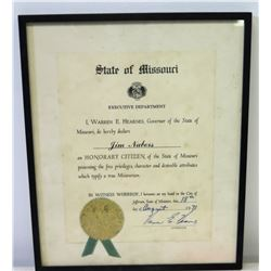 Framed 1971 Jim Nabors Missouri 'Honorary Citizen' Designation w/ Seal & Governor's Signature