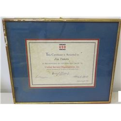 Framed 1966 Jim Nabors Recognition Award from United Service Organizations