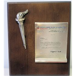 1972 U.S. Olympic Committee Appreciation Letter to Jim Nabors w/Olympic Torch on Wooden Plaque