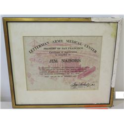 Framed 1973 Letterman Army Medical Center Appreciation Certificate to Jim Nabors, Signed by Brigadie