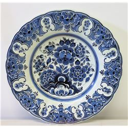 "Blue & White Delft Holland Handpainted China, Wall-Mountable, Approx. 14""Dia."