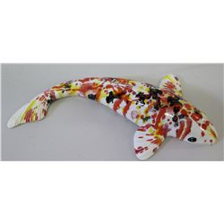 "Glazed Multicolored Ceramic Koi Fish, Artist Signed, 15"" Long"