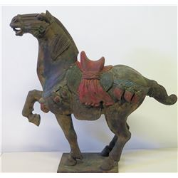 "Carved Wooden Horse w/ Red Saddle, Approx. 25"" H (tail was broken off at one time, glued back on)"
