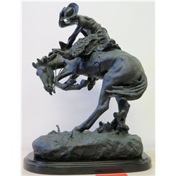 Frederic Remington Bronze/Metal Sculpture - Bucking Bronco & Cowby Holding Hat
