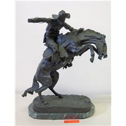 Frederic Remington Bronze/Metal Sculpture - Bucking Bronco & Cowby w/ Rope