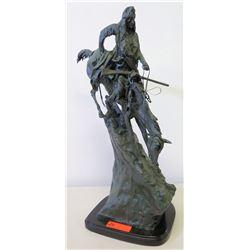 Frederic Remington Bronze/Metal Sculpture - Native American Indian Descending w/ Horse & Rifle