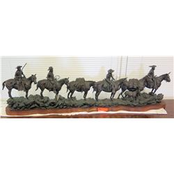 Large Truman Bolinger Bronze Sculpture 'Headin for the Green River Rendezvous' Approx. 5' Long, 17""