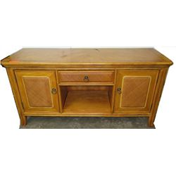 Wooden Sideboard with Woven Rattan Paneling, 60 L x 20.5 D x 29 H