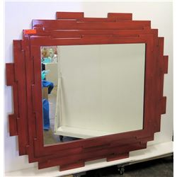 "Red Geometric Lacquered Mirror 59"" x 54"""