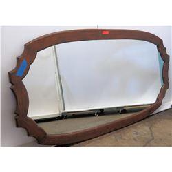 Oblong Mirror with Dark Wooden Frame