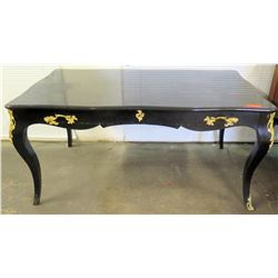 Queen Anne Style Black Lacquered Table w/ Gold Tone Ornamentation