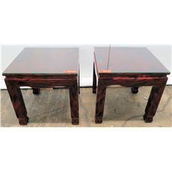 Pair of Lacquer-Enameled Side Tables 20 x20 20 H (glass tops not included)