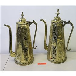 Pair of Tall Brass Samovar w/ Overlay Accents 21 H