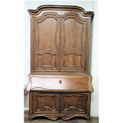 "Very Large Antique 2-Piece Wood Cabinet from Jim Nabors' Bel Air Home 64""W x 23.5""D (top piece 68""H,"