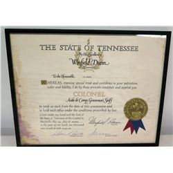 Framed Jim Nabors 'Tennessee Colonel Aide de Camp' Commission w/ Official Seal & Signatures