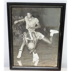 Framed Black & White Basketball Player Signed Phototograph to Jim Nabors
