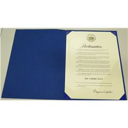 State of Hawaii Governor's Official Proclamation of 'Jim Nabors Day' 2000