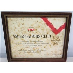 Framed TWA Jim Nabors Ambassadors Club Membership Certificate