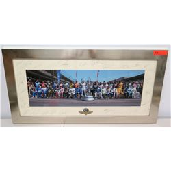 """Autographed Indianapolis Motor Speedway Photograph w/ Multiple Signatures 40"""" x 20"""""""