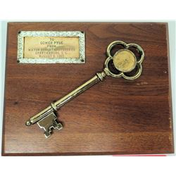 1965 Key to the City of Spartanburg, S.C. - To Gomer Pyle, Wood Plaque