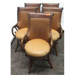 "Qty 5 Matching Woven Rattan Chairs w/ Round Seats, 38"" Back Ht."