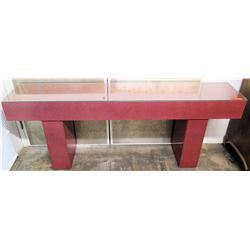 """Modern Pink Composite Console Table w/ Glass Top, Synthetic Material  78"""" x 15"""" x 30"""""""