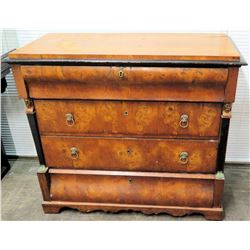 Antique Burl French Empire Chest of Drawers w/ Jim Nabors Tag