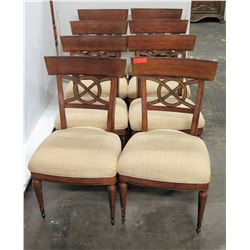 Qty 8 Wooden Chairs with Upholstered Seats, 37.5  Back Ht., Seat 21 W