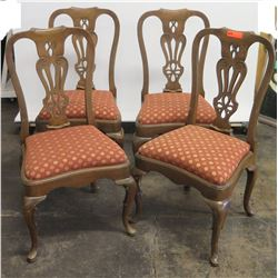 Qty 4 Antique Queen Anne Style Urn-Back Chairs