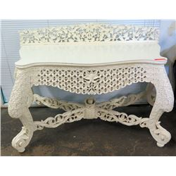 """White Painted Wooden Relief-Carved Regency Side Table 55"""" 25""""D, 38""""H"""