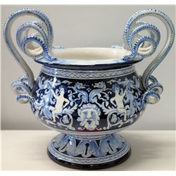 Blue & White Ceramic Italian Vase with Ornate Handles 12 H