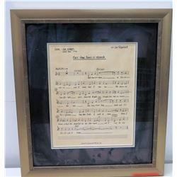 """Framed Original 1992 Indy 500 Jim Nabors Vocal Sheet """"Back Home in Indiana"""" by John Tatgenhorst"""