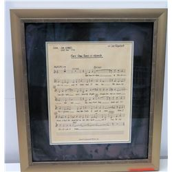 Framed Original 1992 Indy 500 Jim Nabors Vocal Sheet  Back Home in Indiana  by John Tatgenhorst