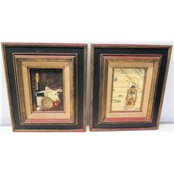 2 Still Life Paintings: Lantern and Wine/Clock, Artist Andrew Annenberg 1967, On Wood