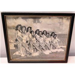 Framed Signed Black & White Photograph - Alabama Cheer Squad