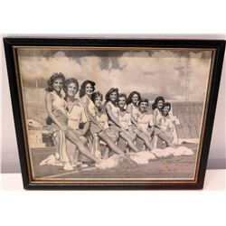 Framed Signed Black & White Photograph - Alabama Cheer Squad