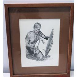 """Framed """"Canoe Builder"""" 1981 Signed by Artist (Ltd. Ed. 42 of 150)"""