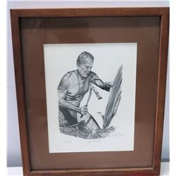 "Framed ""Canoe Builder"" 1981 Signed by Artist (Ltd. Ed. 42 of 150) 14""x 16.5"""