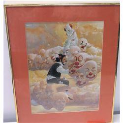 Framed Art: Clown Painting, Artist Signed, Robert Owen (Ltd. Ed. 42 of 150)